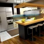 Фото 18: Интерьер кухни с барной стойкой на маленькой кухне