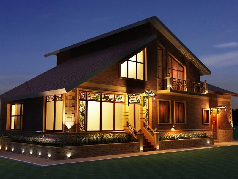Освещение фасада дома дизайнерами