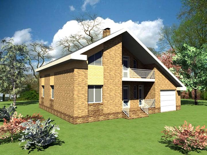 Проект дома с гаражом и мансардой (3)