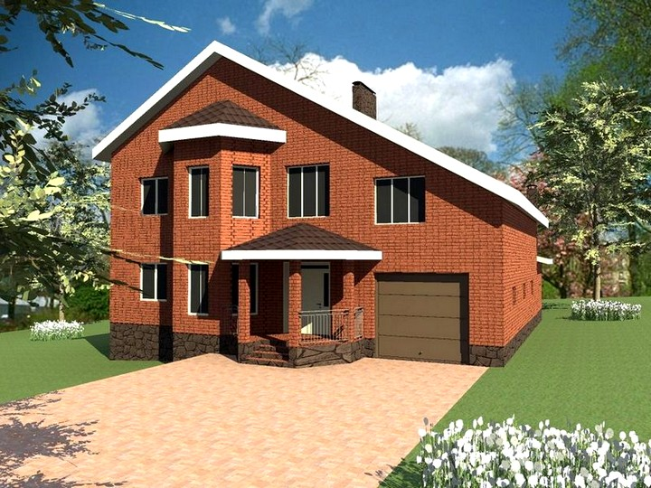 Проект дома с гаражом и мансардой (5)