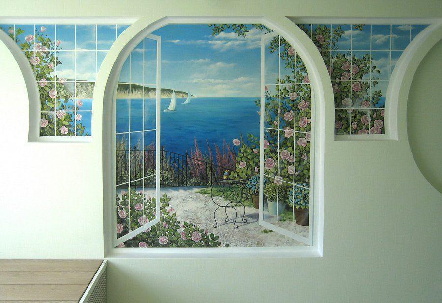 Рисунок окна на стене