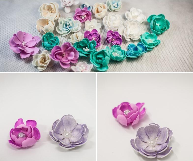 Из фоамирана можно сделать цветы любой формы и цвета