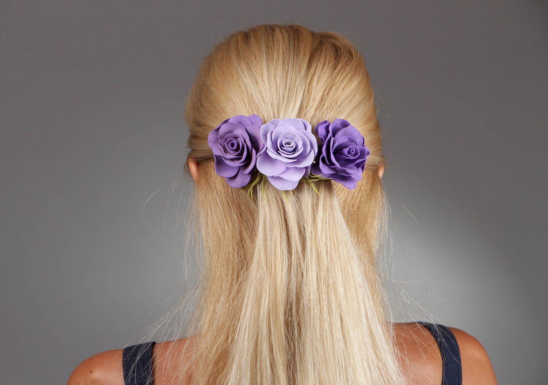 Яркая летняя заколка для волос с цветами из фоамирана