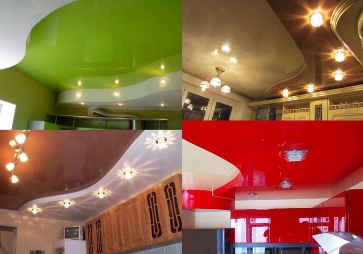 Разнообразие конфигураций подвесных потолков на кухне