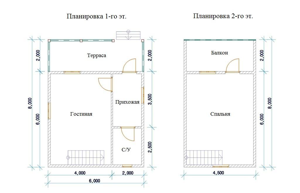 Чертеж двуэтажного дома 6х8 метров