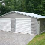 Фото 16: Металлический гараж серого цвета на две машины