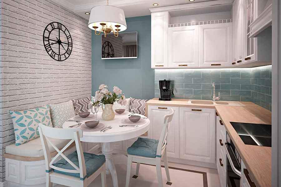 Светлая маленькая кухня