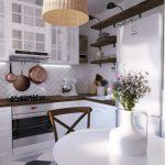 Фото 46: Маленькая светлая кухня