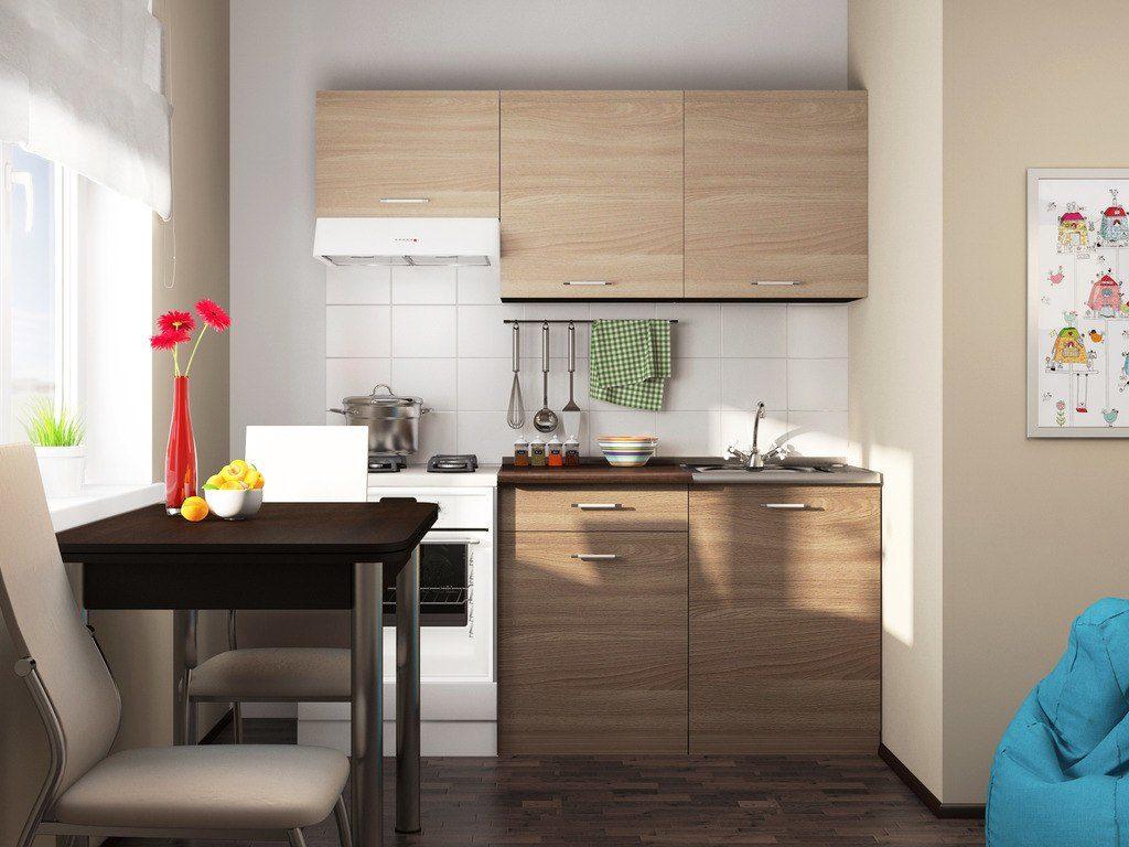Маленький пристенный кухонный гарнитур