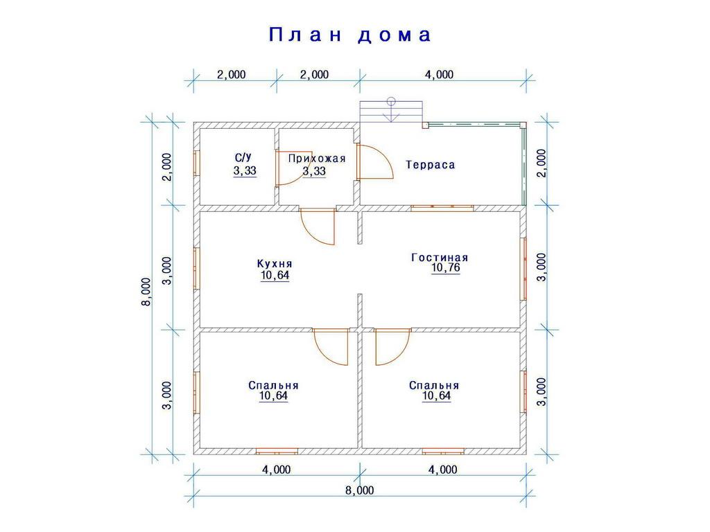 Фото 9: План одноэтажного дома 8x8
