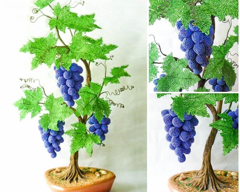 Фото 29: Виноградное дерево из бисера