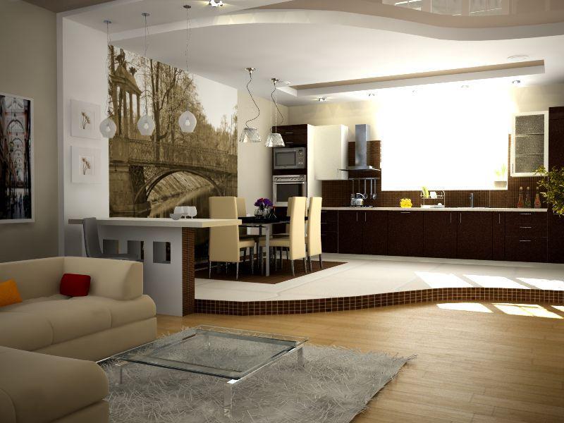Зонирование кухни-гостиной подиумом
