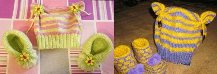 Различные украшения для вязанной шапочки