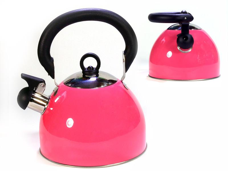 Фото 8: Розовый металлический эмалированный чайник
