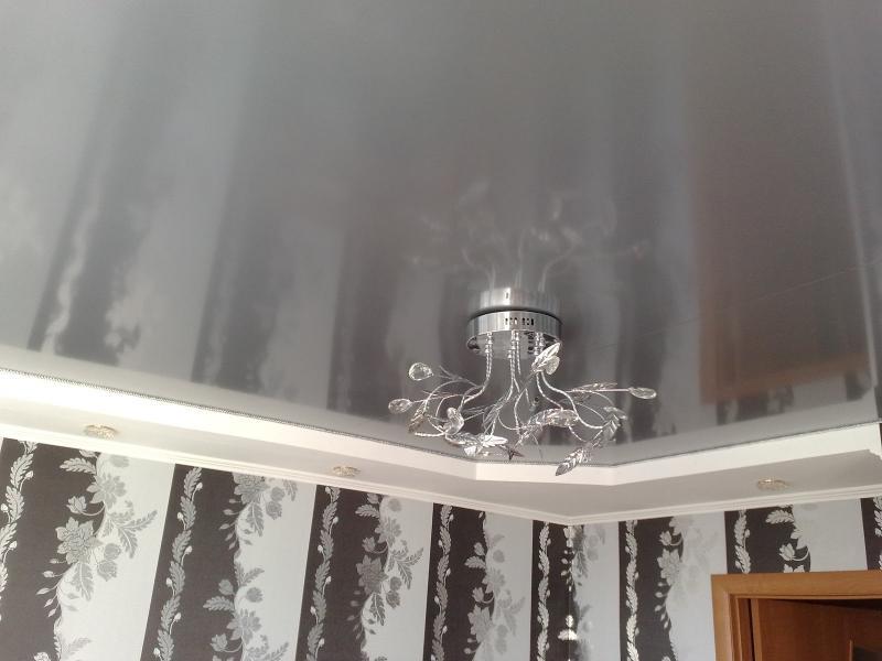 Фото 12: Натяжной потолок с эффектом металлик