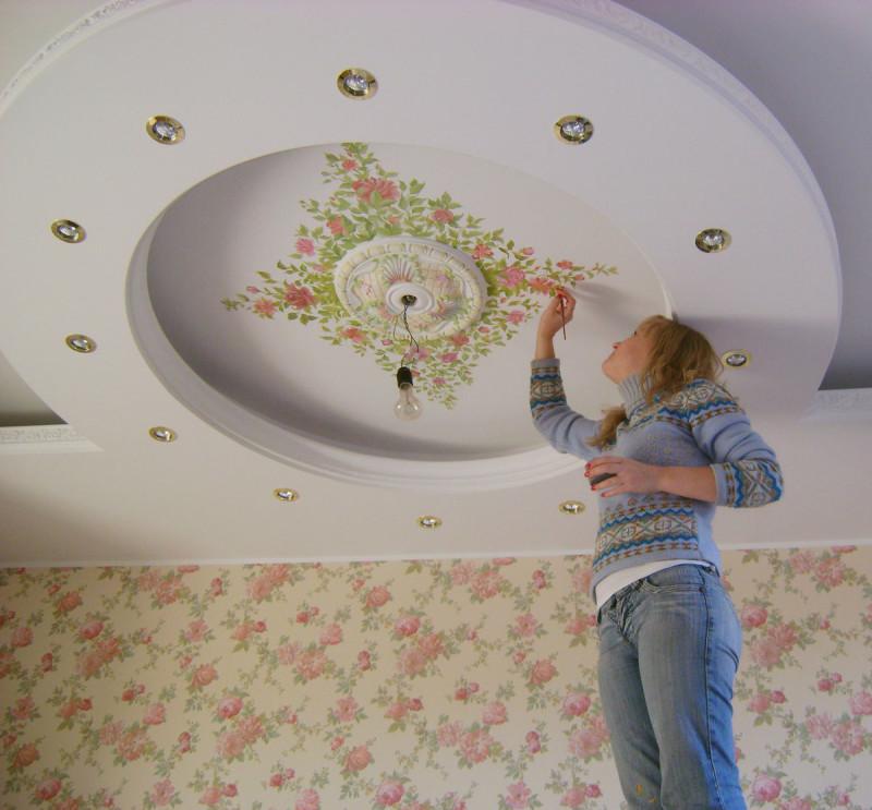 Фото 17: Роспись натяжного потолка