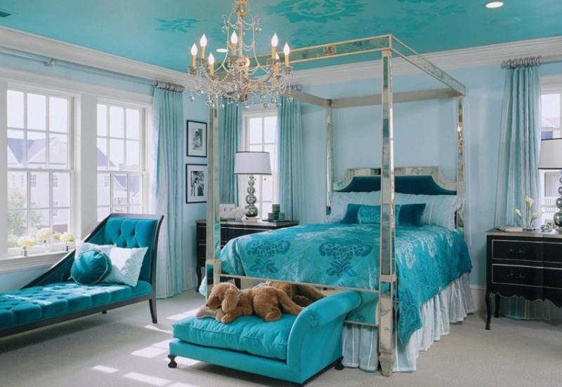Фото 30: Тканевый натяжной потолок в спальне