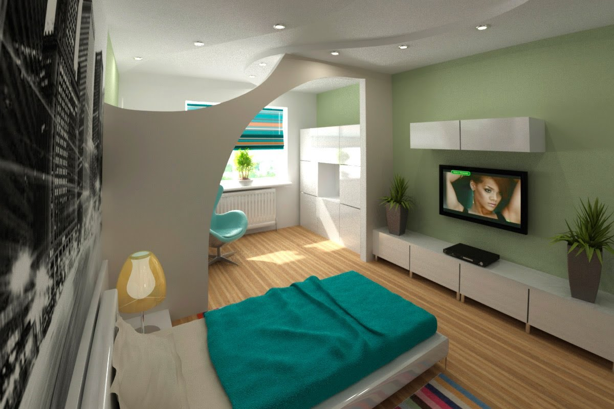 Фото 20: Зонированная комната с гостиной