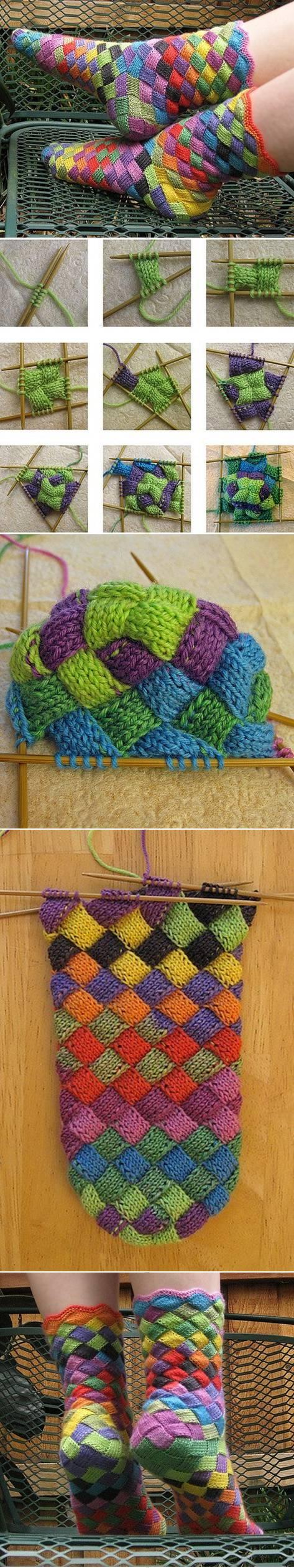 прелестные вязаные носочки цвета радуги1