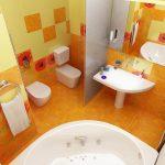 Фото 1: Интерьер ванной комнаты совмещенной с туалетом