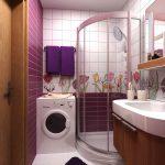 Фото 2: Интерьер ванной комнаты совмещенной с туалетом