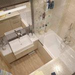 Фото 4: Интерьер ванной комнаты совмещенной с туалетом
