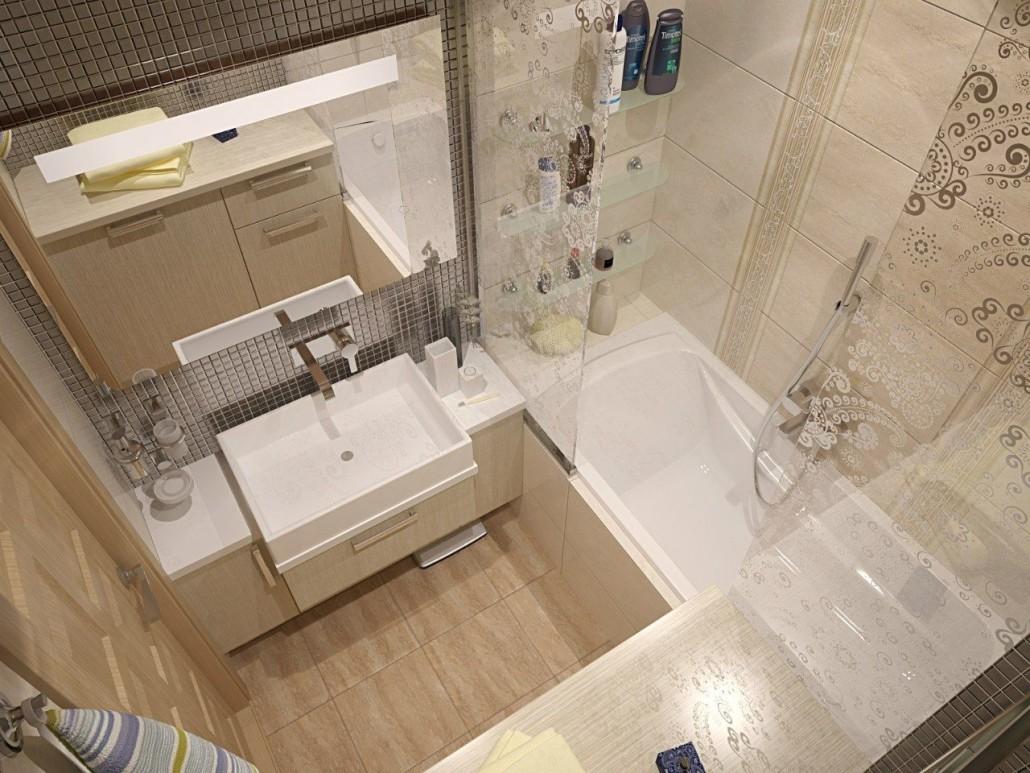 Интерьер ванной комнаты совмещенной с туалетом