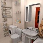 Фото 6: Интерьер ванной комнаты совмещенной с туалетом