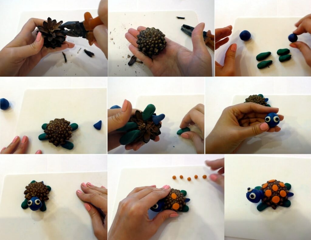 Поделка черепаха из шишек своими руками