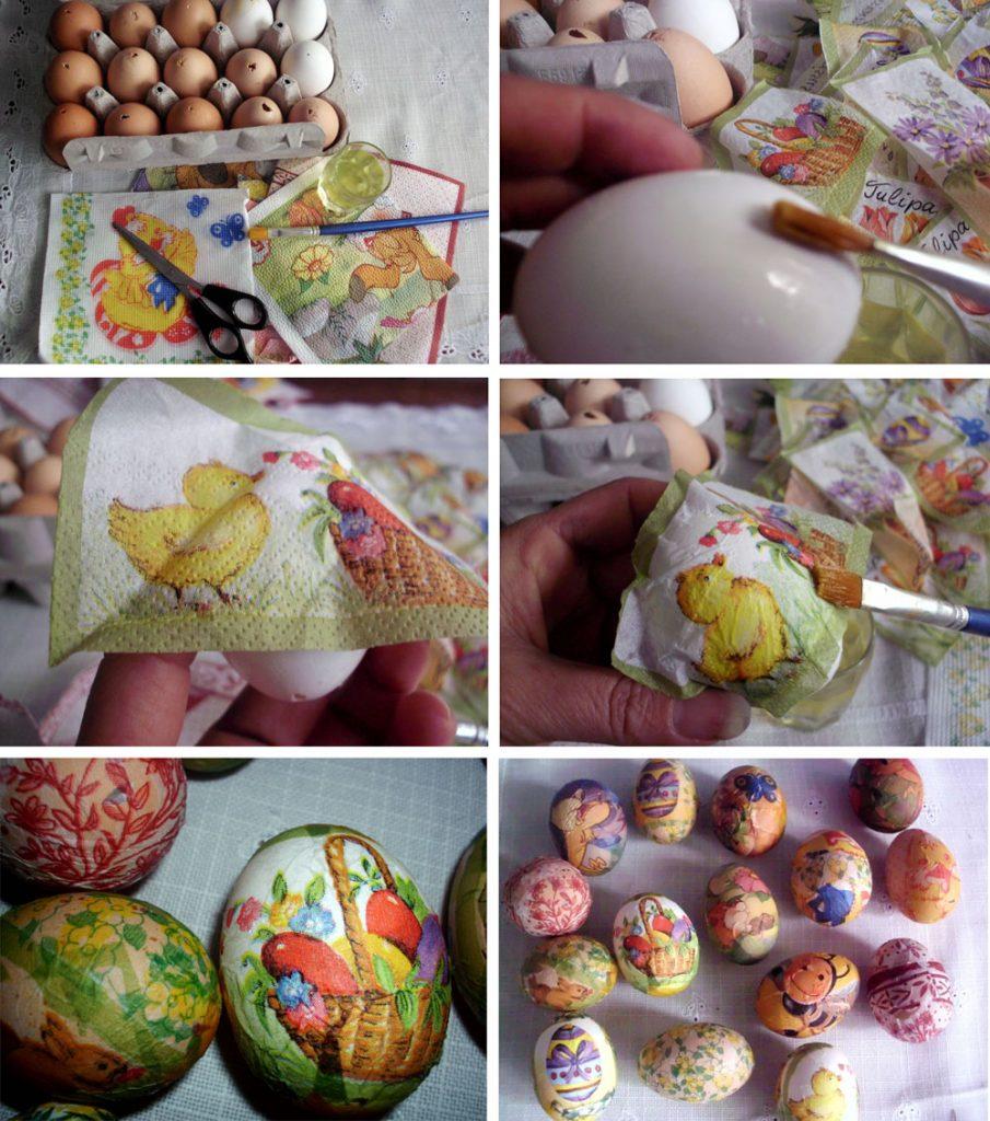 Декупаж пасхальных вареных яиц