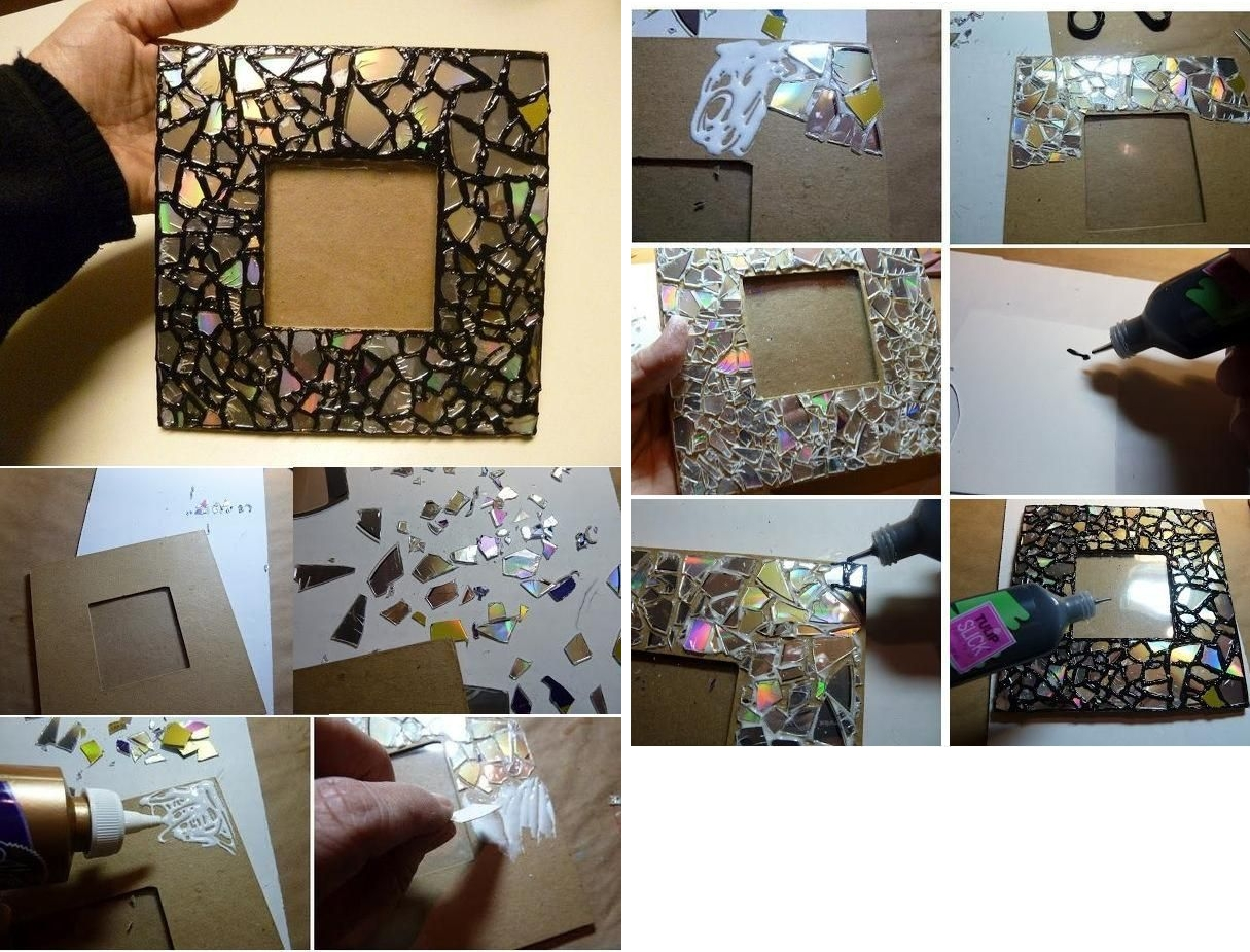 Украшение рамки из картона с помощью старого диска