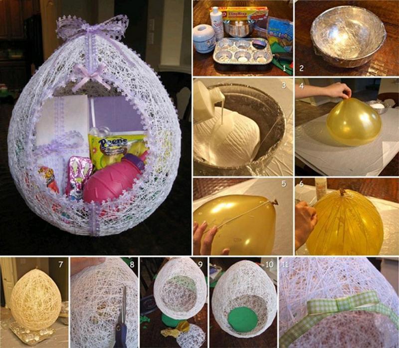 Изготовлениедекоративного яйца из ниток и шарика