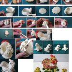 Фото 40: Изготовление подставки из соленого теста для пасхального яйца в виде курицы