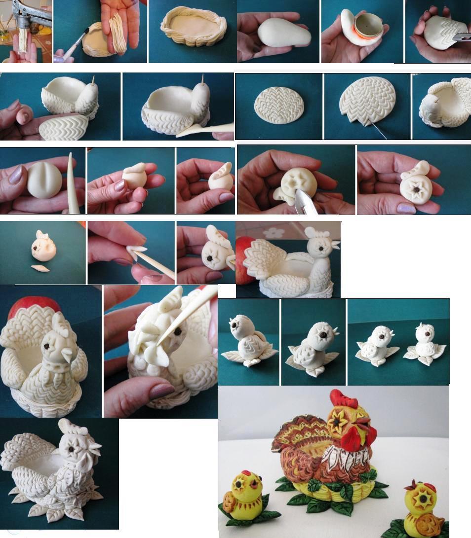 Изготовление подставки из соленого теста для пасхального яйца в виде курицы