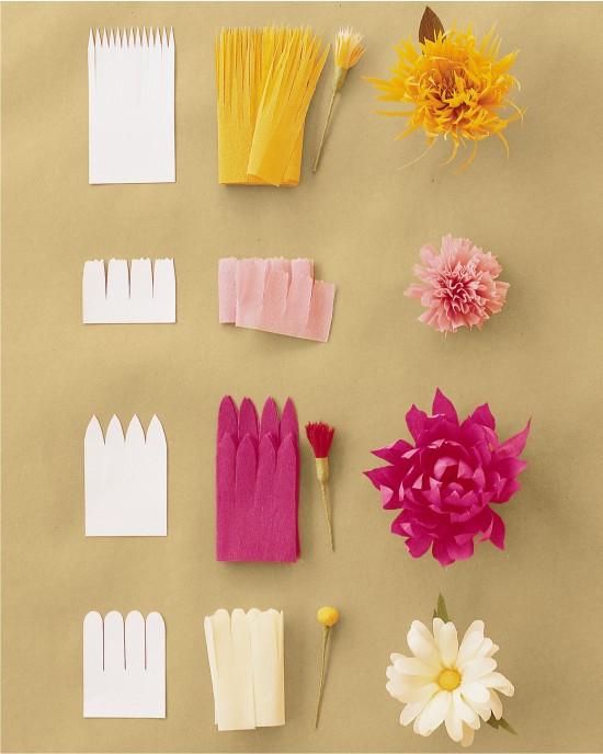 Заготовки цветов из бумаги