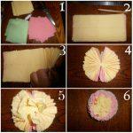 Фото 39: Многоцветный цветок из салфеток