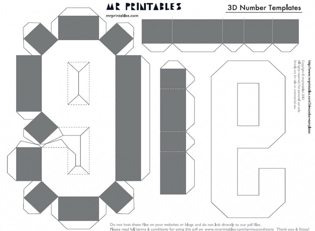 Шаблон Объемная цифра девять