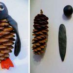 Фото 36: Пингвины из шишек и пластилина