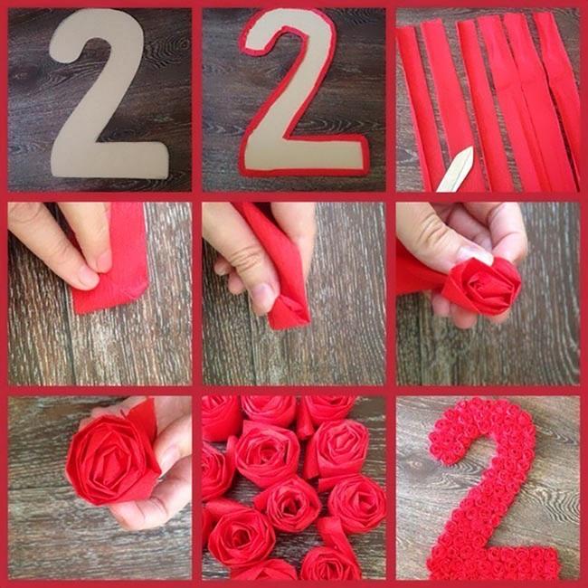 Плоская цифра из картона с розами