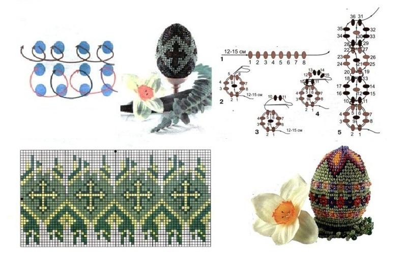 Схема плетения бисером яйца с рисунком крестиком