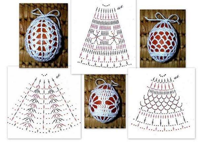 Схемы обвязки яиц крючком