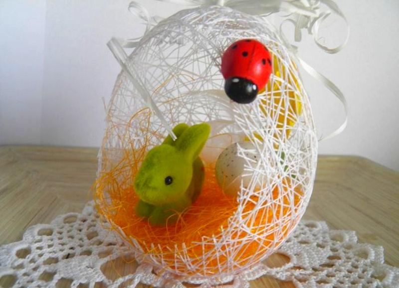 Яйцо - шкатулка из ниток к Пасхе