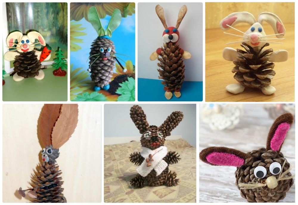 Поделки зайцы из шишек своими руками