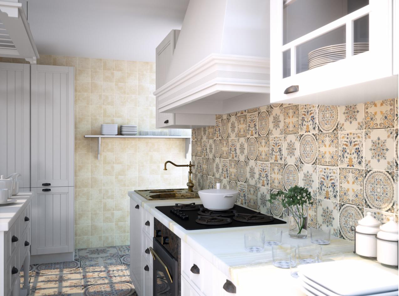 Испанская плитка на кухне