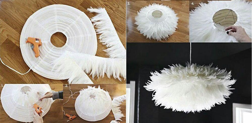 Абажур из перьев