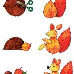 Фото 26: Белочка и ежик из листьев