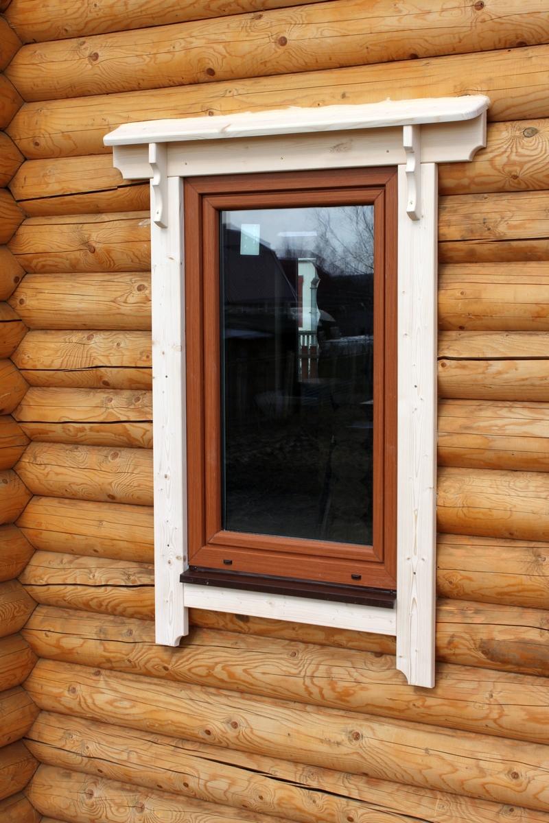 Окна с наличниками стандартные