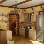 Фото 11: Отделка кухни декоративным камнем
