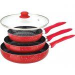 Фото 32: Комплект каменных сковород в красном цвете