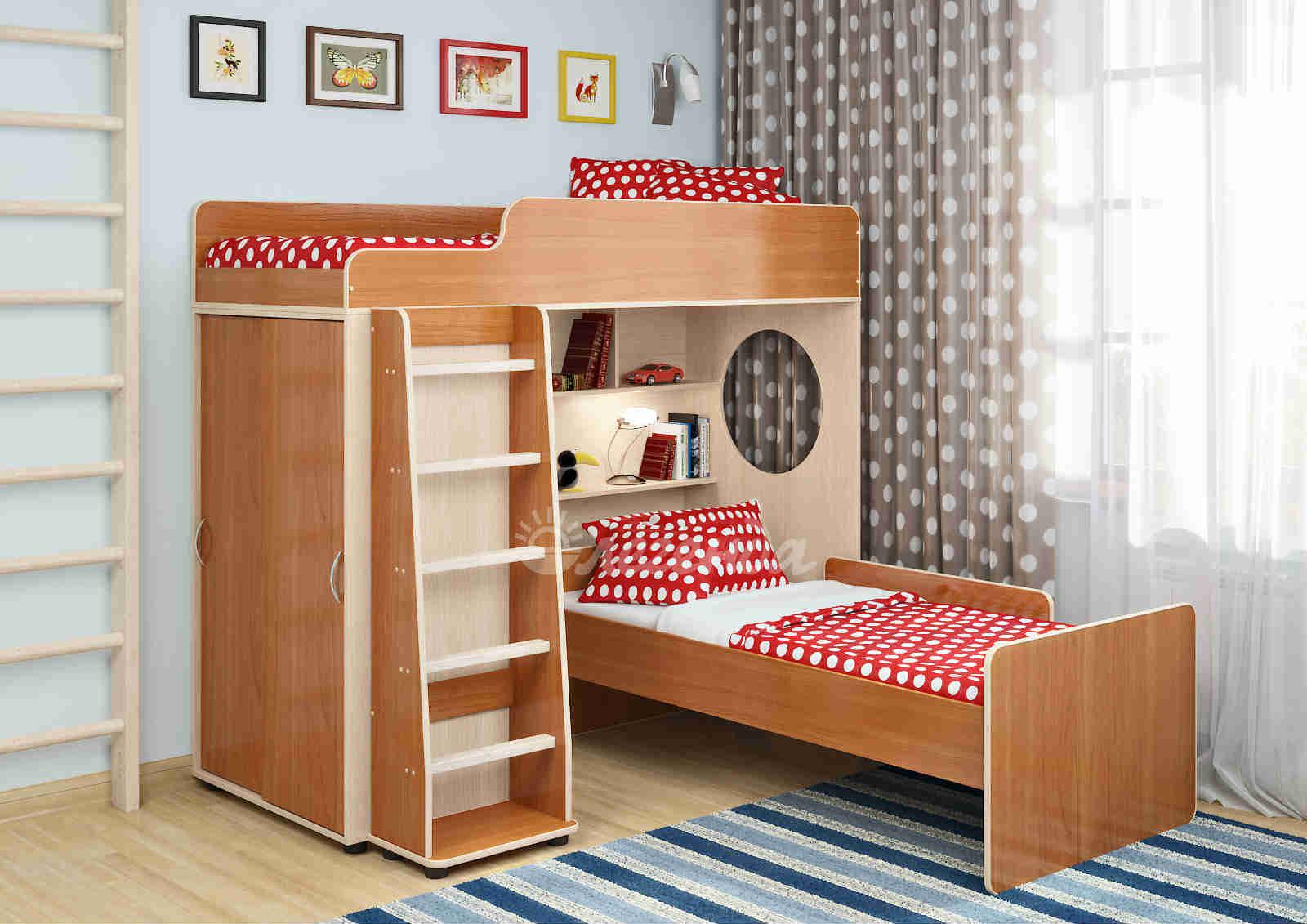 Кровать чердак с диваном внизу практичный